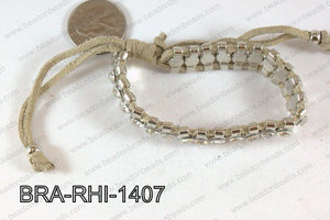 Rhinestone Bracelet with Cream Cord 14mm BRA-RHI-1407