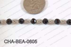 Decorative Silver Chain with 6mm Round Black Faceted Crystal CHA