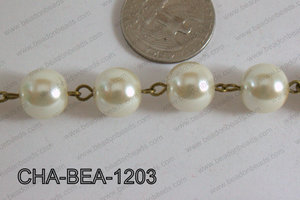 Bronze Chain with Glass Pearl 12mm CHA-BEA-1203