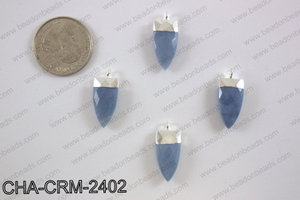 Blue chalcedony charm with silver top, 10x24mm CHA-CRM-2402