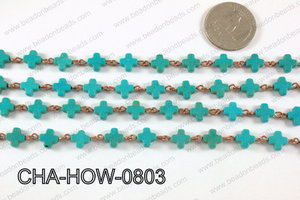 HOWLITE TURQUIOSE CROSS WITH COPPER CHAIN 8mm CHA-HOW-0803