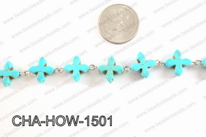 Howlite Turquiose cross with Silver Chain 15mm CHA-HOW-1501