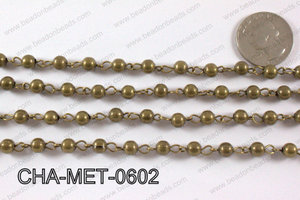 Bronze Metal Round Beads with Bronze Chain 6mm CHA-MET-0602