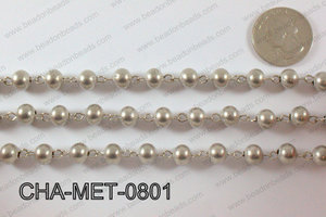 Anti Silver Metal Round Beads with Silver Chain 8mm CHA-MET-0801