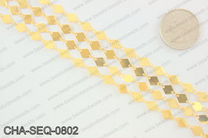 Diamond sequin chain 6x8mm, gold CHA-SEQ-0802