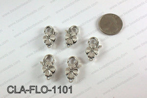 Flower Lobster Clasp, Silver 11x25mm CLA-FLO-1101