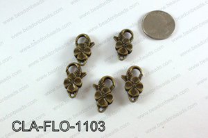 Flower Lobster Clasp, Brass 11x25mm CLA-FLO-1103