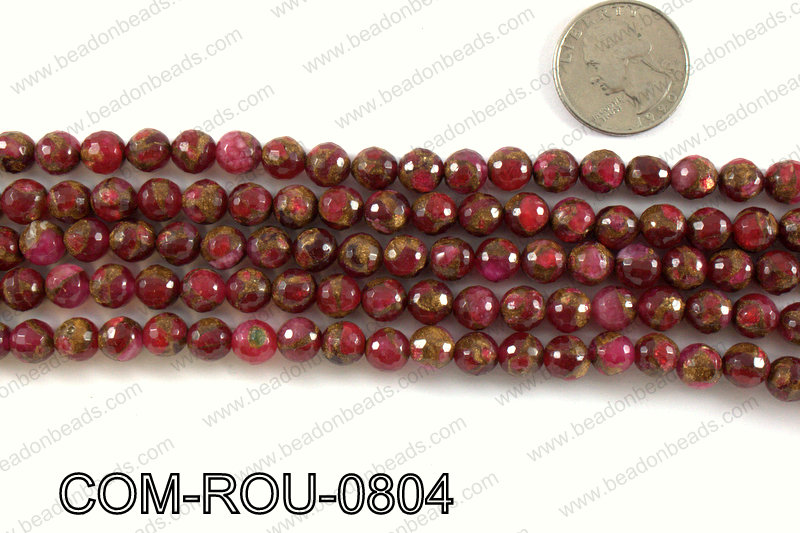 Composite Golden Quartz faceted round 8mm COM-ROU-0804
