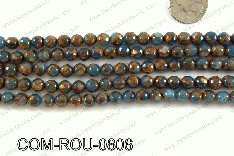 Composite Golden Quartz faceted round 8mm COM-ROU-0806