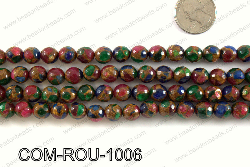 Composite Golden Quartz faceted round 10mm COM-ROU-1006