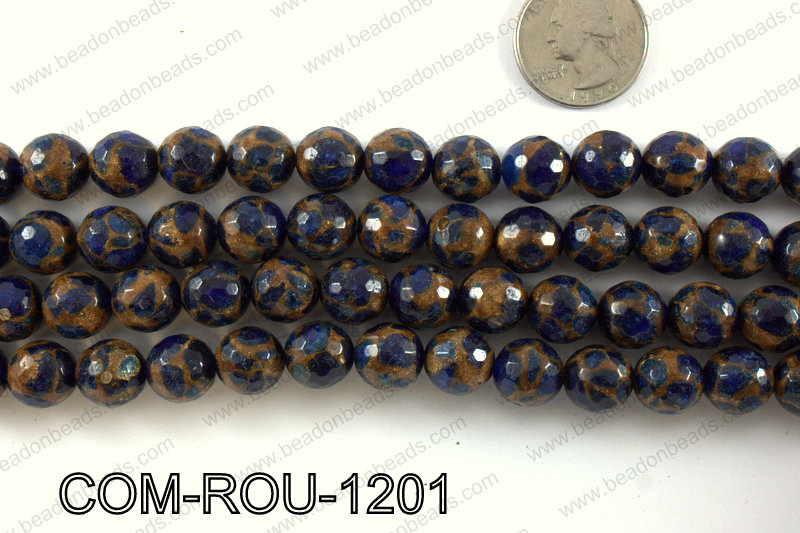 Composite Golden Quartz faceted round 12mm COM-ROU-1201