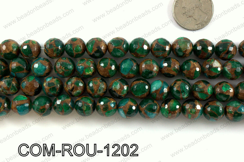 Composite Golden Quartz faceted round 12mm COM-ROU-1202