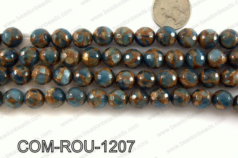 Composite Golden Quartz faceted round 12mm COM-ROU-1207