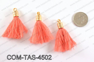 Thread tassels with gold bead cap 45mm, CoralCOM-TAS-4502