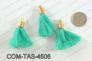 Thread tassels with gold bead cap 45mm, TealCOM-TAS-4506