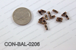 Ball chain connector around 3x8 mm copper  CON-BAL-0206