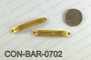 Curved bar connector 7x50mm, Gold CON-BAR-0702