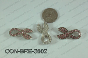 Connector with rhinestones Breast Cancer Pink 18x36mm CON-BRE-36