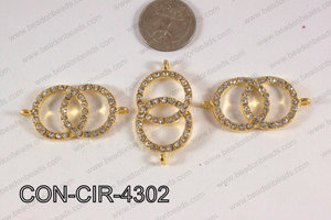 Connector with rhinestones circle gold 22x43mm CON-CIR-4302