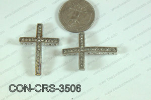 Connector with rhinestones dark silver Cross 25x35mm CON-CRS-350