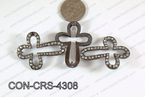 Connector with rhinestones Cross gun metal/clear 34x43mm CON-CRS