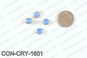 gold bezel crystal oval connector  CON-CRY-1601