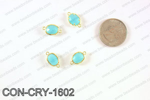 gold bezel crystal oval connector  CON-CRY-1602