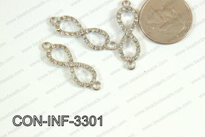Sideway cross connector infinity with rhinestone 10x33mm CON-INF