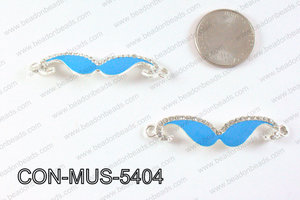 Metal Mustache Connector Turquoise with Rhinestone 13x54mm CON-M