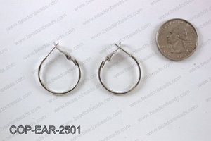 Earring hoops 25mm, Silver  COP-EAR-2501