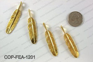 Gold plated feather pendant, 12x55mm COP-FEA-1201