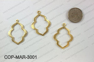 Gold plated marquis pendant, 30x40mm COP-MAR-3001