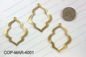 Gold plated marquis pendant, 40x50mm COP-MAR-4001