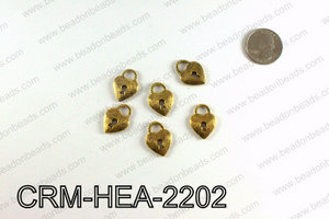 Heart lock charm 22x16mm, Gold CRM-HEA-2202