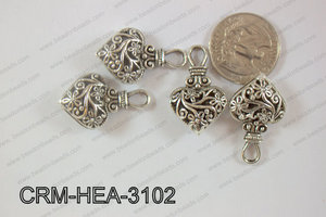 Charm Heart Antique Silver 31x19mm CRM-HEA-3102