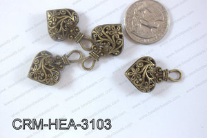 Charm Heart Bronze 31x19mm CRM-HEA-3103