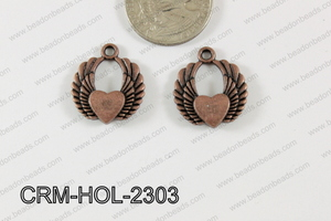 Pewter Charm Heart with wings 20x23mm CopperCRM-HOL-2303