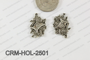 Pewter Charm Bell and flower 17x25mm SilverCRM-HOL-2501