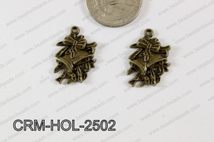 Pewter Charm Bell and flower 17x25mm BronzeCRM-HOL-2502