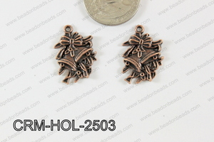 Pewter Charm Bell and flower 17x25mm Copper CRM-HOL-2503