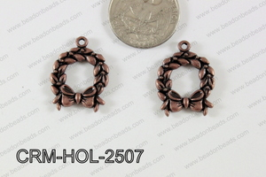 Pewter Charm Wreath 19x25mm CopperCRM-HOL-2507
