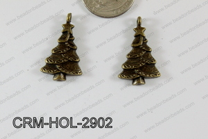 Pewter Charm Christmas tree 17x29mm Bronze CRM-HOL-2902