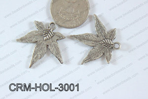 Pewter Charm Leaf 30mm Silver CRM-HOL-3001