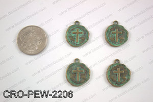 Coin cross charm 22x19mm, turquoise patina CRO-PEW-2206