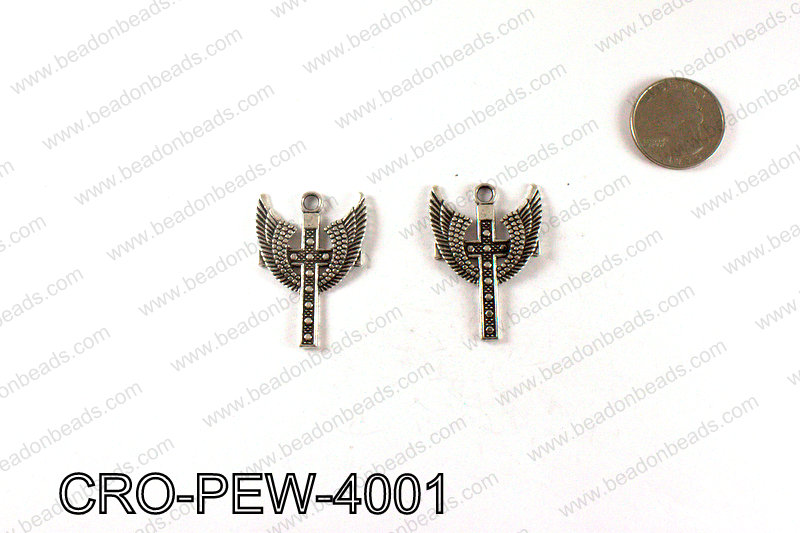 Cross with wings 40x29mm, Silver CRO-PEW-4001