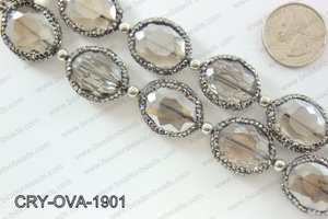 Oval smokey crystal with Gunmetal Rhinestone bezel 19x24mmCRY-OV
