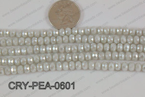 Rondelle Crystal with Pearl Coating Grey 6mm CRY-PEA-0601