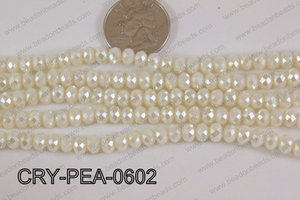 Rondelle Crystal with Pearl Coating Cream 6mm CRY-PEA-0602