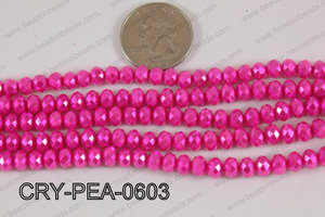 Rondelle Crystal with Pearl Coating Hot Pink 6mm CRY-PEA-0603