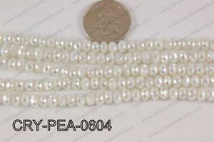 Rondelle Crystal with Pearl Coating White 6mm CRY-PEA-0604